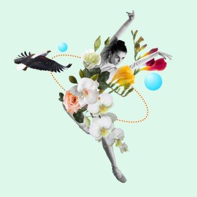 Bild Dancing woman a ballet dancer or performer with flowers. Copyspace. Modern design. Contemporary art collage