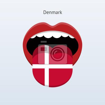 Dänemark Sprache. Abstrakt menschliche Zunge.