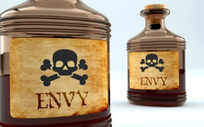 Bild Dangers and harms of envy pictured as a poison bottle with word envy, symbolizes negative aspects and bad effects of unhealthy envy, 3d illustration