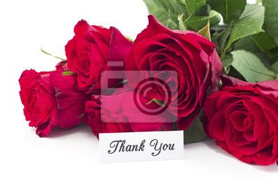 Danke Mit Blumenstrauss Der Roten Rosen Leinwandbilder Bilder