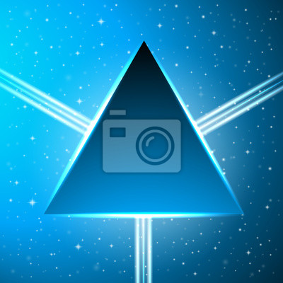 Dark blue triangle on an abstract cosmic background