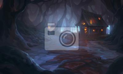 Bild Dark forest, burning house illustration background cover