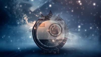 Bild Dark forest, magic mirror. Night view, smoke, smog, neon light, moon. Dark fantasy mystical landscape.