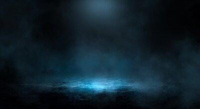 Bild Dark night landscape, light reflection in the water. Fog, smoke, smog. Empty futuristic landscape.