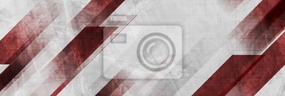 Bild Dark red and grey grunge stripes abstract banner design. Geometric tech vector background