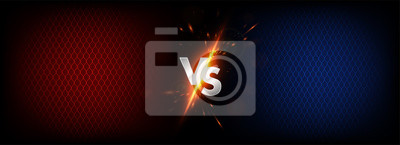 Bild Dark Versus Battle. MMA concept - Fight night, MMA, boxing, wrestling, Thai boxing. VS collision of metal letters with sparks and glow on a red-blue background and octagon grid. Versus battle. Vector