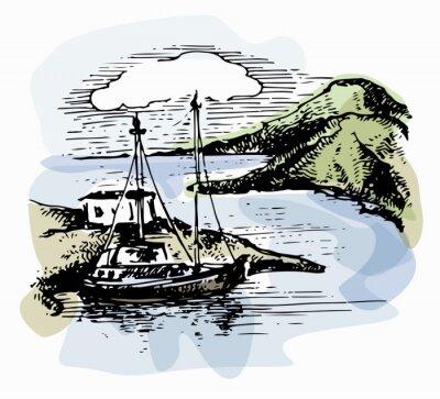 Bild Das Boot auf den Wellen in der Nähe des Ufers. Yacht Illustration. Blick auf den Strand. Aquarelllandschaft Vektor-Illustration