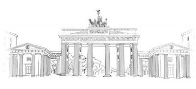 Bild Das Brandenburger Tor. Berliner Bogensymbol. Hand gezeichnete Bleistiftskizze Vektor-Illustration isoliert auf weißem Hintergrund