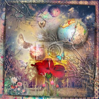 Das geheime Königreich. Märchen- und Zauberwald mit rotem Hibiskus, fantastischen Blumen und Schmetterlingen