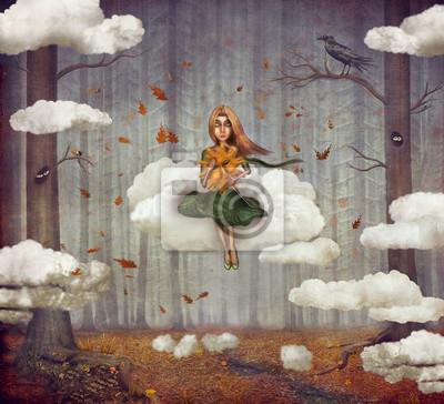 Das kleine Mädchen sitzt auf einer Wolke im herbstlichen Wald. Schöne Natur Hintergrund