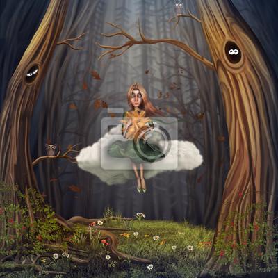 Das kleine Mädchen sitzt auf einer Wolke und im herbstlichen Wald