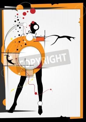 Bild Das Mädchen im Stil eines Kubismus. Quadrate, Farben, schwarzer Hintergrund