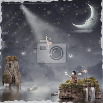 Das Mädchen zu Fuß auf einem Seil in den Nachthimmel