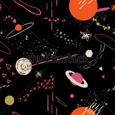 Bild Das nahtlose bunte Muster mit Platz, Sternen, Galaxien, Konstellationen. Übergeben Sie gezogenen Überschneidungshintergrund für Ihr Design Textil, Blogdekoration, Fahne, Plakat, Packpapier.