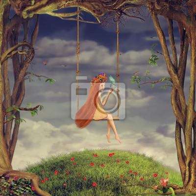 Das schöne Mädchen schüttelt sich auf einer Schaukel im Wald