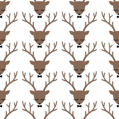 Bild Deer head silhouette seamless pattern. Animal head texture. Cute sleeping deer with bow background for winter holidays.