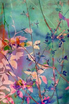 Bild Dekorative Grunge Hintergrund mit natürlichen Blättern