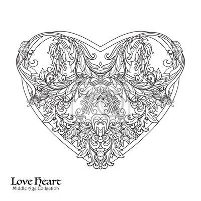 Dekorative Liebe Herz Malbuch Für Erwachsene Umrisszeichnung