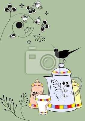 Dekorative Teller mit Vogel