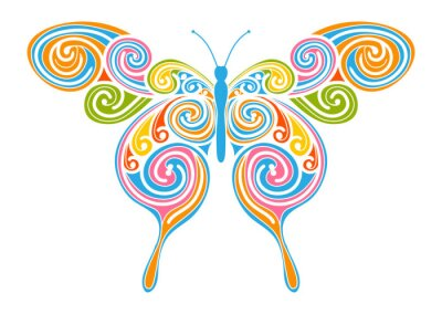 Bild Dekoratives Vektor Element - bunter, abstrakter Schmetterling mit Spiral Muster. Vorlage für Grußkarten und Hintergründe. Frühling, frische Farben.