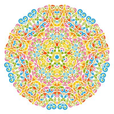 Bild Dekoratives Vektor Element - buntes, florales und abstraktes Mandala Muster, isoliert auf weißem Hintergrund. Bunte abstrakte dekorative Muster - verzieren Motiv mit Design-Elemente - Hintergründe.