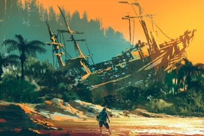 Bild Der Besatzung Mann auf Insel Strand mit verlassenen Boot bei Sonnenuntergang, Illustration Malerei