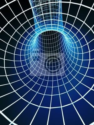 Der blaue abstrakte 3d-tunnel von einem Gitter