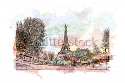 Bild Der Eiffelturm ist ein schmiedeeiserner Gitterturm auf dem Champ de Mars in Paris, Frankreich. Aquarellspritzen mit Hand gezeichneter Skizzenillustration im Vektor.