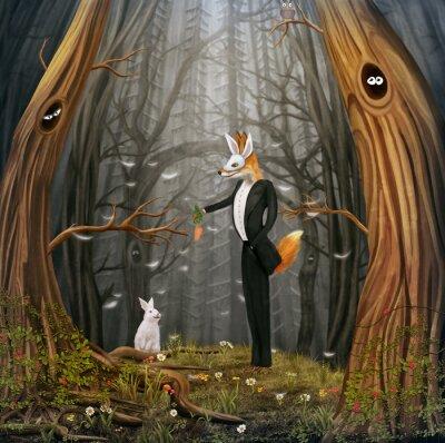 Der Fuchs und Hase fliegen mit bunten Luftballons