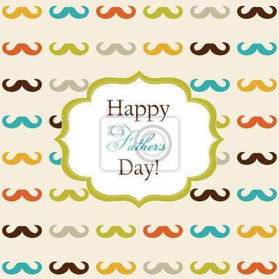 Der Glückliche Vatertag Karte Mit Schnurrbart Leinwandbilder