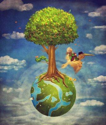 Der kleine Junge und braun Pelikan fliegen in den Himmel mit schönen Wald-Szene mit großen Baum und kleinen Planeten