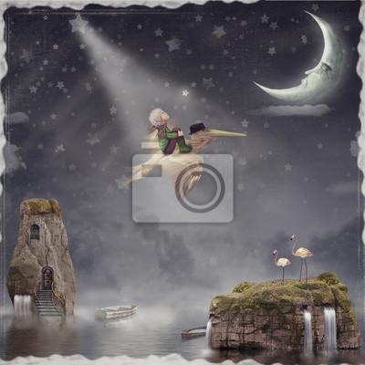Der kleine Junge und braun Pelikan fliegen in den Nachthimmel