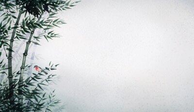 Bild Der kleine Vogel in einem Bambushain. Das Bild im japanischen Stil