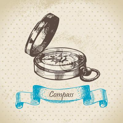 Der Kompass des Seemannes. Hand gezeichnete Illustration.