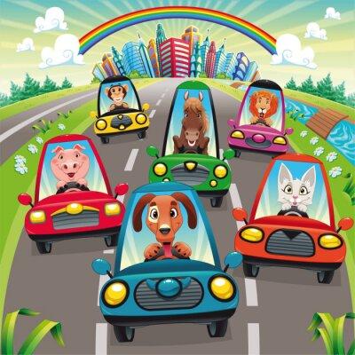 Der Verkehr auf der Straße. Vektor-Illustration, isolierte Objekte.