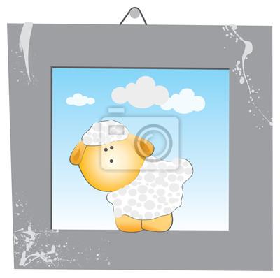 Der weiße Schafe im grauen Bilderrahmen