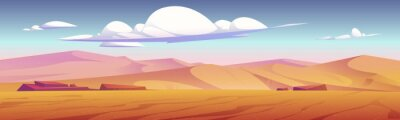 Bild Desert landscape with golden sand dunes and stones under blue cloudy sky. Hot dry deserted african or mexican nature background with yellow sandy hills parallax scene, Cartoon vector illustration