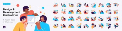 Bild Design and Development illustrations. Mega set. Collection of scenes with men and women involved in software or web development. Trendy vector style