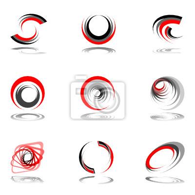 Design-Elemente in rot-grau Farben.