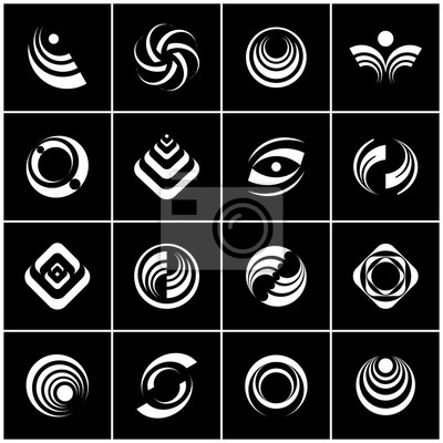 Design elements set. Abstract black and white icons.