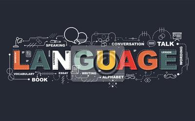 Bild Design-Konzept der Word-Sprache-Website-Banner.