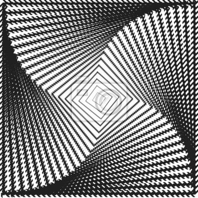 Design-Monochrom-Bewegung drehen Quadrat geometrischen Hintergrund. Ab
