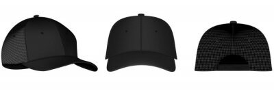Bild Design template, vector realistic white baseball cap front, back and side view isolated on background. Realistic back front and side view. Vector baseball cap front and side view.