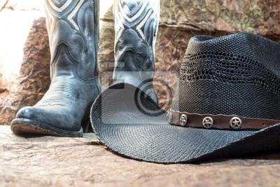 Cowboyhut Schwarzen Mit Blauen Stiefeln Detail Der JlT1KFc