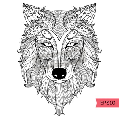 detail zentangle wolf zum ausmalen seite tattoo t shirt. Black Bedroom Furniture Sets. Home Design Ideas