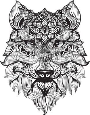 Detail Zentangle Wolf Zum Ausmalen Seite Tattoo T Shirt Design