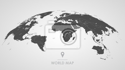 Bild Detailed global world map, with borders and names of countries, seas and oceans, vector illustration