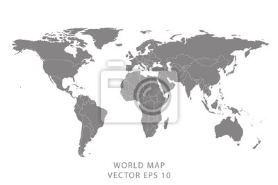 Bild Detailed world map with borders of states. Isolated world map. Isolated on white background. Vector illustration.
