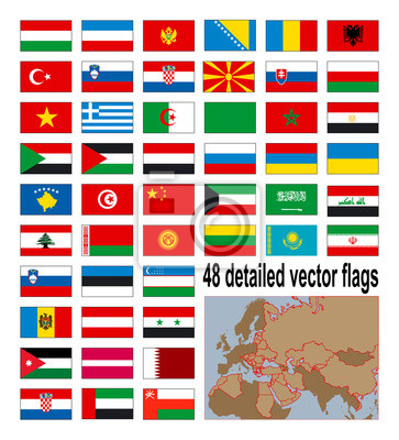 Detaillierte Fahnen der 48 Europian, asiatischen und afrikanischen Ländern