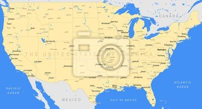Amerika Karte Staaten.Bild Detaillierte Karte Der Vereinigten Staaten Von Amerika Vector